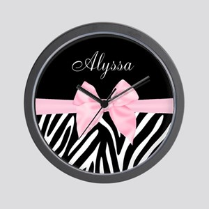 Black Pink Bow Zebra Personalized Wall Clock