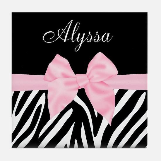 Black Pink Bow Zebra Personalized Tile Coaster