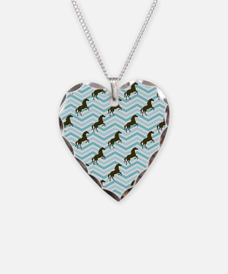 Brown and Teal Equestrian, Horse Chevron Pattern N