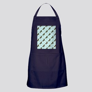 Brown and Teal Equestrian, Horse Chev Apron (dark)