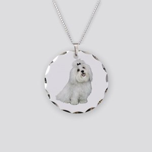 Maltese (cutiepie) Necklace Circle Charm