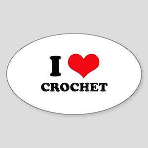 I Heart Crochet Oval Sticker