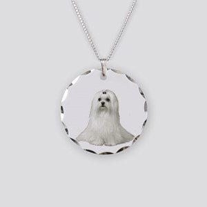 Maltese (#3) Necklace Circle Charm