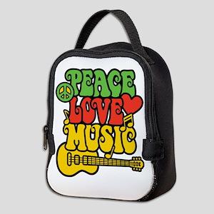 Peace-Love-Music Neoprene Lunch Bag