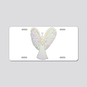 Rainbow Hearts Angel Aluminum License Plate