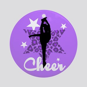 Purple Cheerleader Ornament (Round)