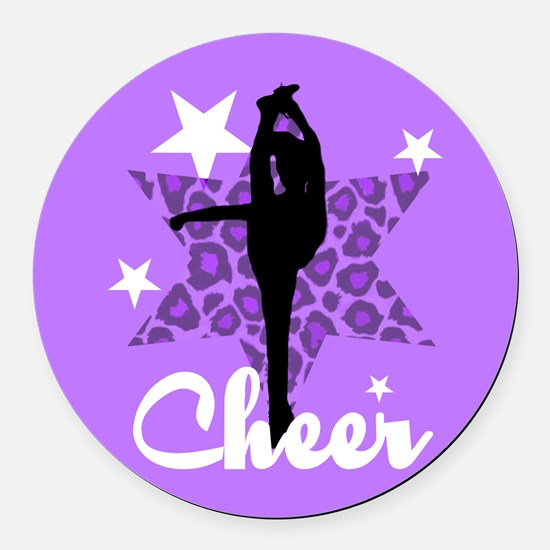 Purple Cheerleader Round Car Magnet
