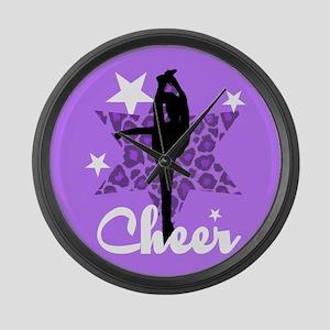 Purple Cheerleader Large Wall Clock