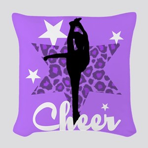 Purple Cheerleader Woven Throw Pillow