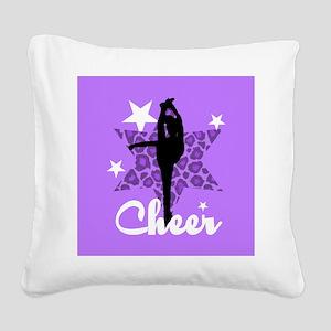 Purple Cheerleader Square Canvas Pillow