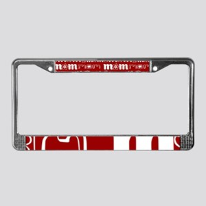 Red and White Mom Pattern License Plate Frame