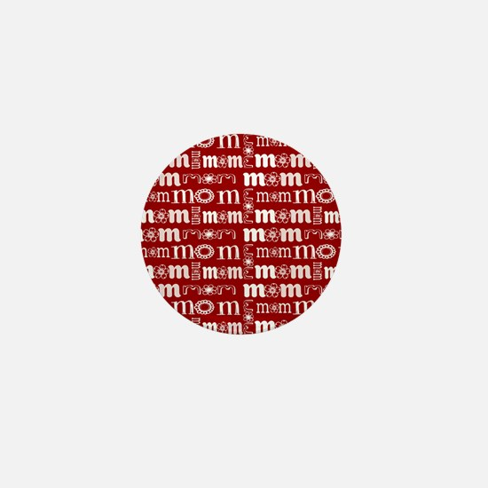 Red and White Mom Pattern Mini Button
