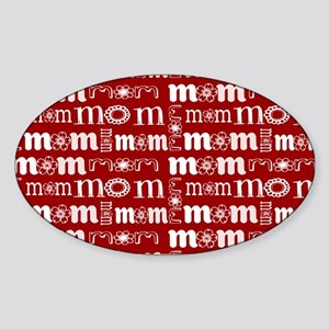 Red and White Mom Pattern Sticker
