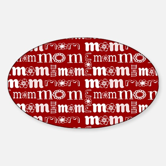 Red and White Mom Pattern Decal