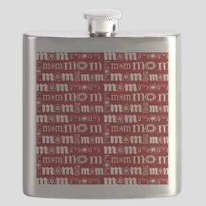 Red and White Mom Pattern Flask