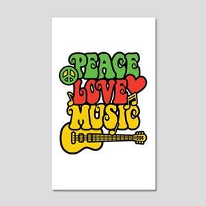 Peace-Love-Music 20x12 Wall Decal