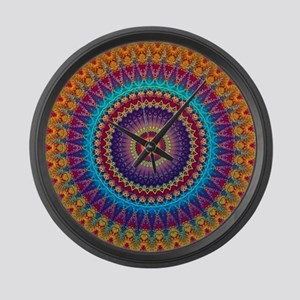 Fire and Ice mandala Large Wall Clock