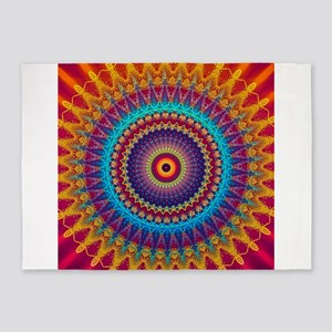 Fire and Ice mandala 5'x7'Area Rug