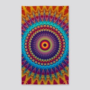 Fire and Ice mandala 3'x5' Area Rug