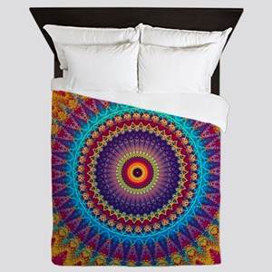 Fire and Ice mandala Queen Duvet