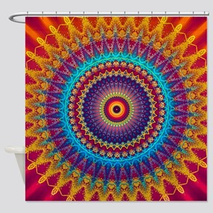 Fire and Ice mandala Shower Curtain