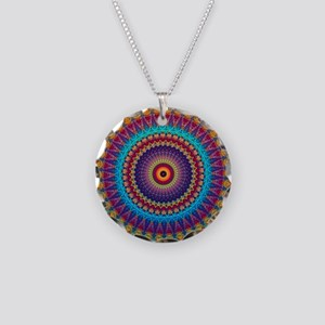 Fire and Ice mandala Necklace Circle Charm