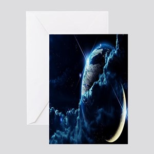 Earth And Moon Greeting Cards
