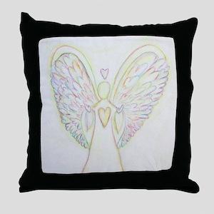 Rainbow Hearts Angel Throw Pillow