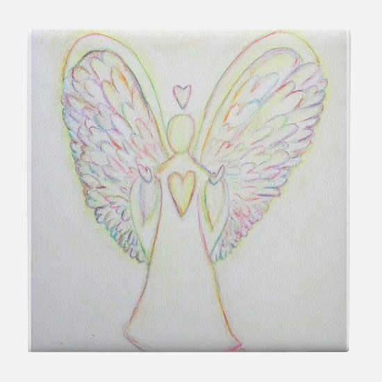 Rainbow Hearts Angel Tile Coaster