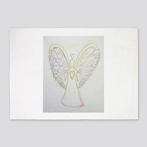 Rainbow Hearts Angel 5'x7'Area Rug