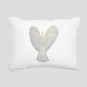 Rainbow Hearts Angel Rectangular Canvas Pillow