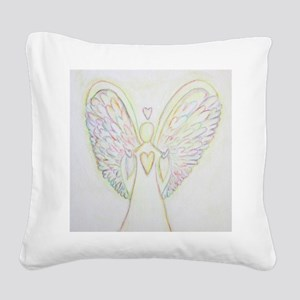 Rainbow Hearts Angel Square Canvas Pillow