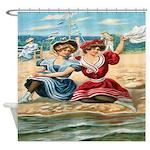 Vintage Victorian Women Seashore Shower Curtain