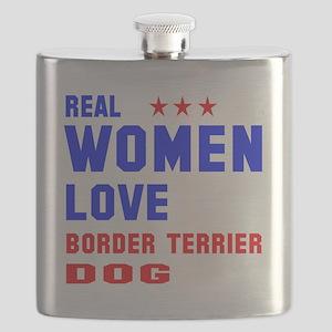 Real Women Love Border Terrier Dog Flask