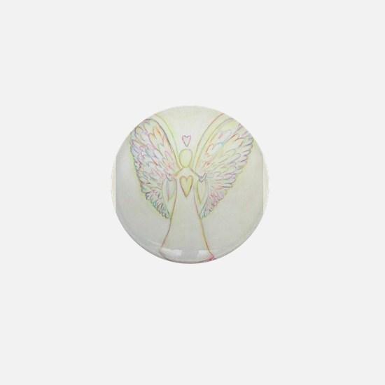 Rainbow Hearts Angel Mini Button