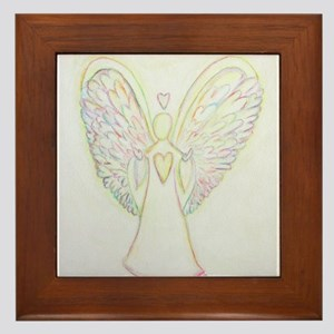 Rainbow Hearts Angel Framed Tile