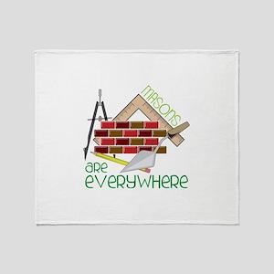 Masons Are Everywhere Throw Blanket