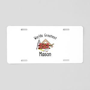 Worlds Greatest Mason Aluminum License Plate