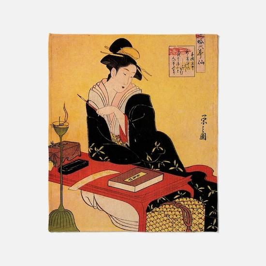 Immortal Poet by Chobunsei Eishi Throw Blanket