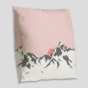 Mountain Sunrise Burlap Throw Pillow