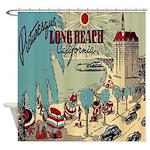 Vintage Long Beach California Shower Curtain