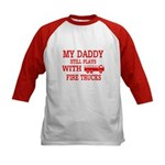 Daddy Plays With Fire Trucks Baseball Jersey