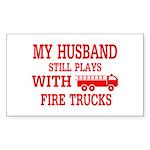 Husband Plays With Fire Trucks Sticker