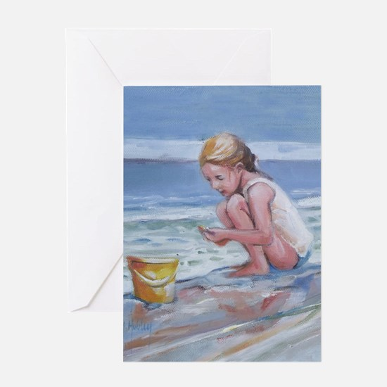 Little girl and seashell at the beach Greeting Car