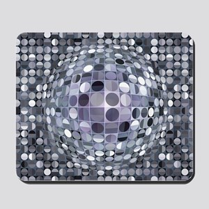Optical Illusion Sphere - Monochrome Mousepad