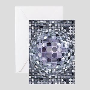Optical Illusion Sphere - Monochrome Greeting Card