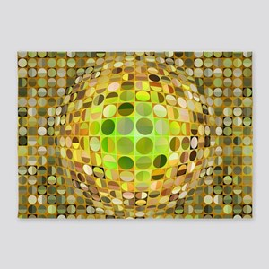 Optical Illusion Sphere - Yellow 5'x7'Area Rug