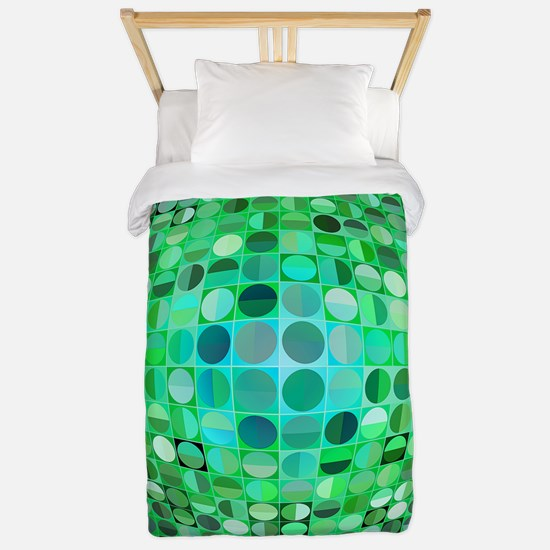 Optical Illusion Sphere - Green Twin Duvet