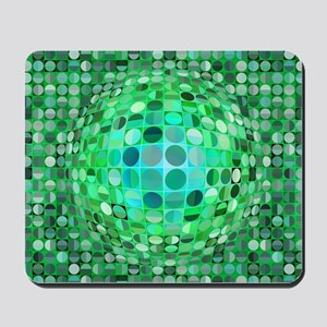 Optical Illusion Sphere - Green Mousepad