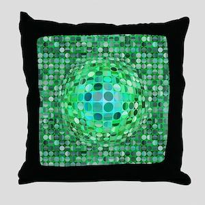 Optical Illusion Sphere - Green Throw Pillow